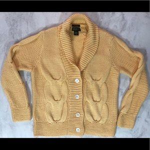 EUC EB Hand Knit Shawl Collar Cardigan LT